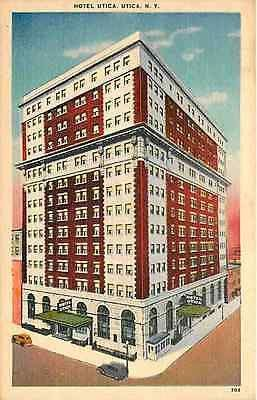 Utica New York Ny 1940s Hotel Utica Vintage Linen Postcard Utica