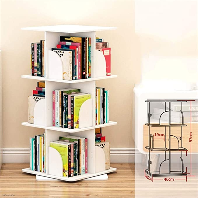 Amazon Com Huo Creative Rotating Bookshelf 360 Degree Simple Bookcase Modern Minimalist Bookshelf Bo In 2020 Minimalist Bookshelves Simple Bookcase Small Bookcase