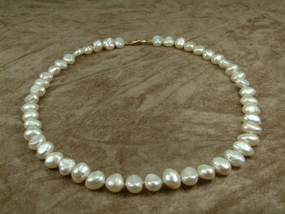 White Pearl Necklace 10  11 mm by PEARLSGALLERY on Etsy, €76.00