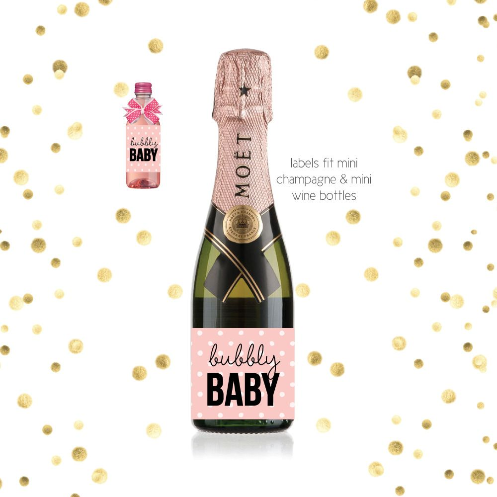 Mini Champagne Baby Shower Favor Labels | Shower favors, Favors and ...