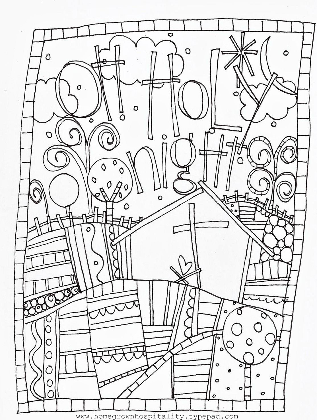 Doodle pages to color - Oh Holy Night Coloring Page From Homegrown Hospitality Kdg Christmaschristmas Doodleschristmas Colouringnight