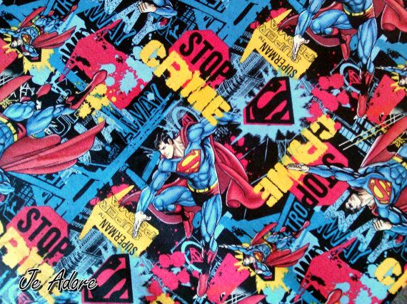 Superman fabric comic book style stop the crime. by JeAdore, $7.50