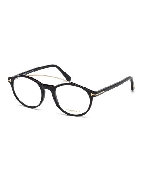 57ecc2c8b2382 TOM FORD Round Brow-Bar Optical Frames