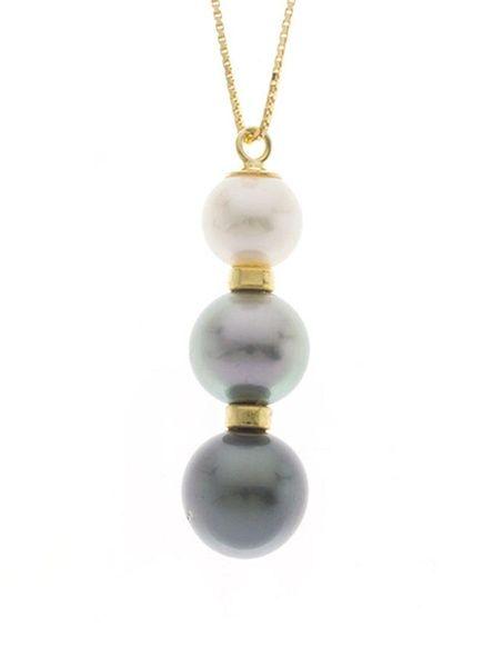 Collar de oro y Perlas tres tonos