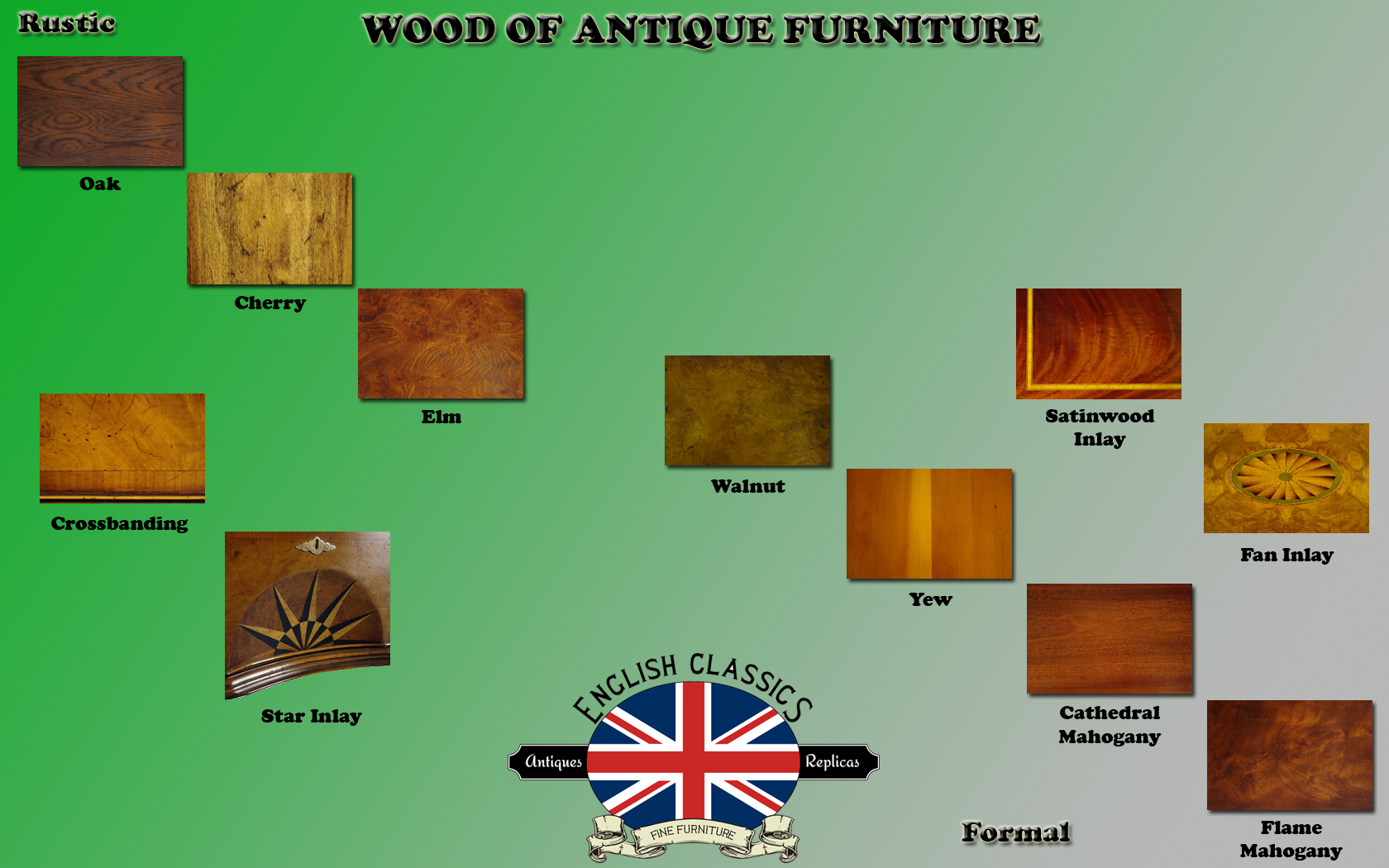 We have put together a handy infographic here to help distinguish the wood types of different antique furniture