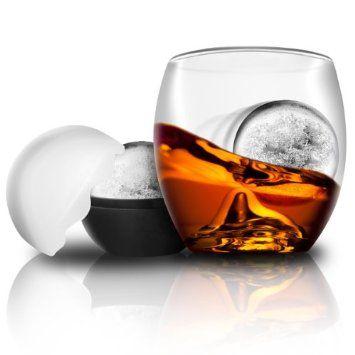 On the Rocks Glass & Ice Ball Mould | Novelty Whiskey Tumbler, Scotch Rocks Glass: Amazon.co.uk: Kitchen & Home
