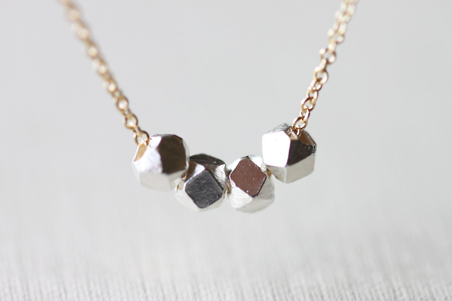 Sterling Silver Beads Necklace - gold and silver simple layering jewelry by petitor. $24.00, via Etsy.