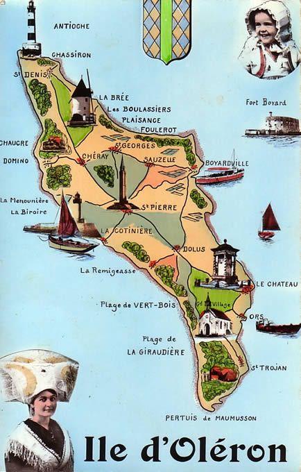 ile d oléron carte touristique Oléron Ïle d Oléron côtes Charente Maritime région Poitou