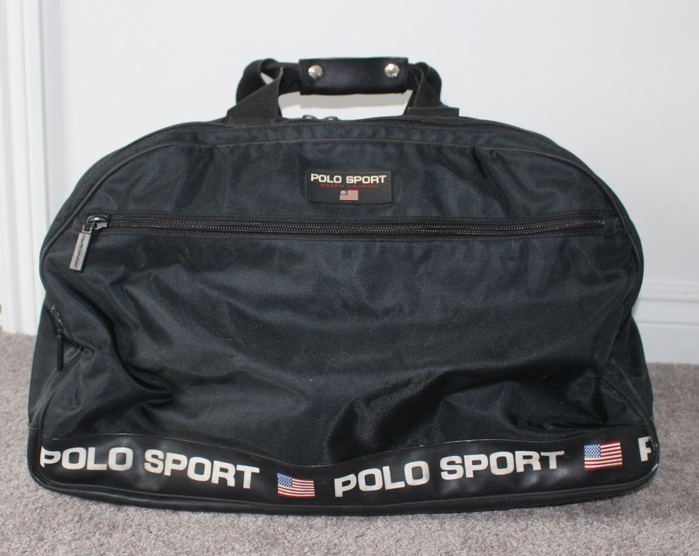 fb7c0323fb vtg 90s POLO SPORT Ralph Lauren Gym Duffle Bag 23x15x11 Luggage Carry On  BLACK  PoloSport  DuffleGymBag