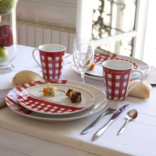 Assiette en porcelaine par 4 vichy rouge cuisine for Cuisine retro rouge