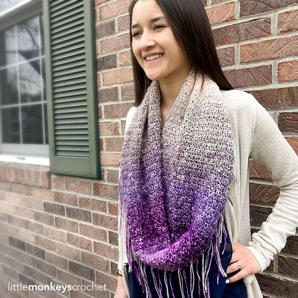 Crochet Pattern - Fringe Infinity Scarf (Providence Infinity Scarf ...