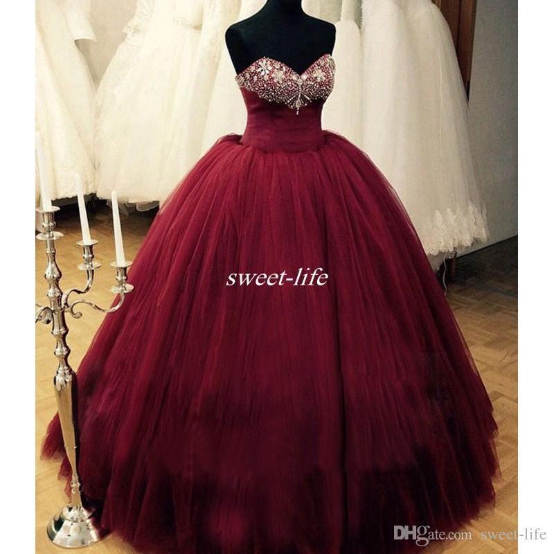 Burgundy Prom Dresses Puffy