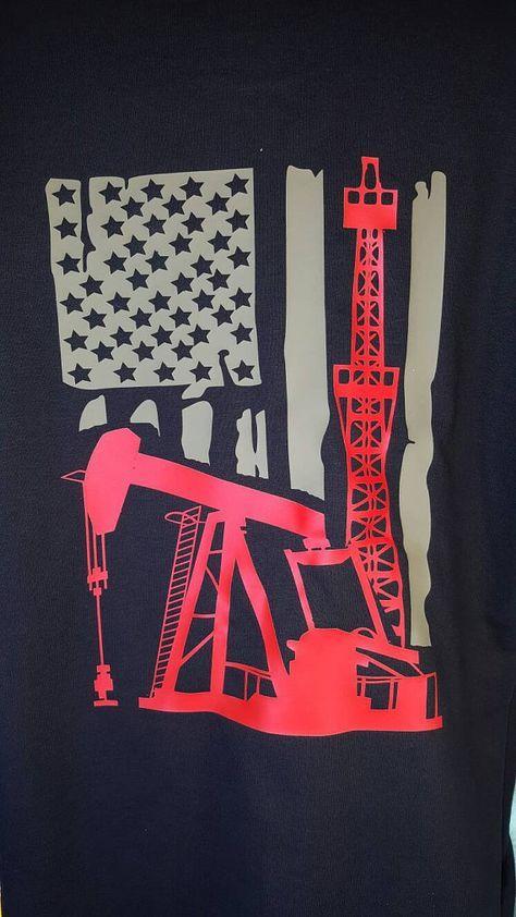 Pump Jack Flag T Shirt Roughneck Well Service T Shirt