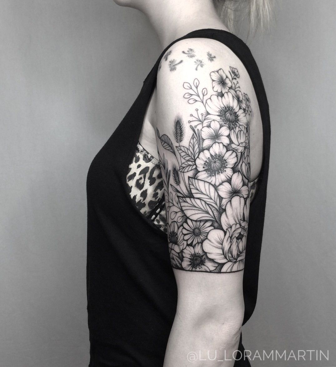 Floral half sleeve (With images) Sleeve tattoos for