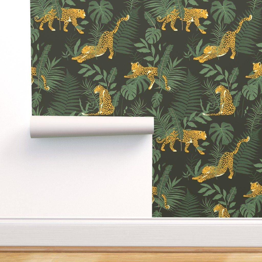 Forest Wallpaper Leopards Jungle Park By Julia Dreams Etsy Jungle Wallpaper Spoonflower Wallpaper Forest Wallpaper
