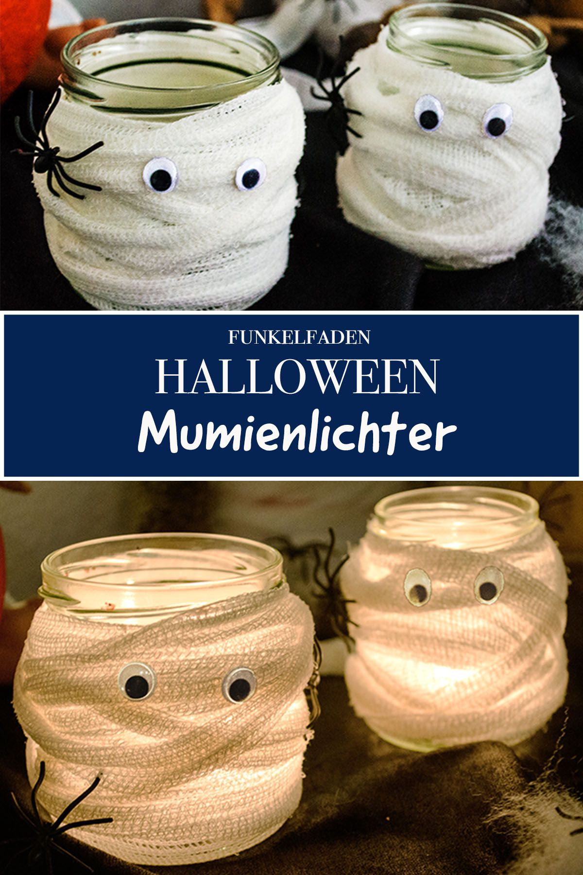 Dekoration für die Halloween Party basteln - Mumienlichter