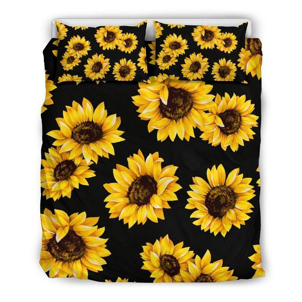 Black Sunflower Pattern Print Duvet Cover Bedding Set