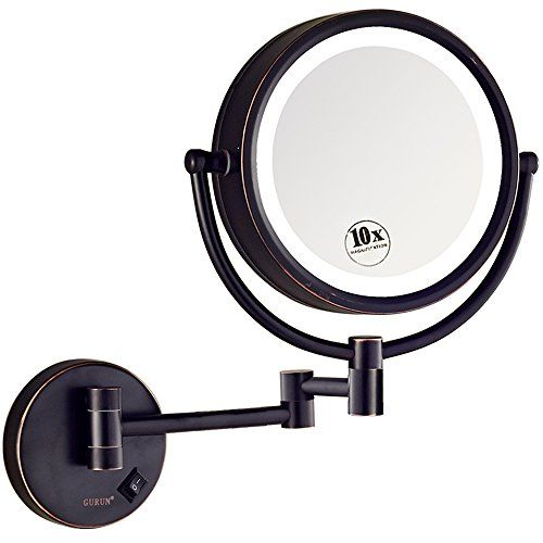 New Gurun Led Lighted Wall Mount Makeup Mirror 10x Magnification Oil