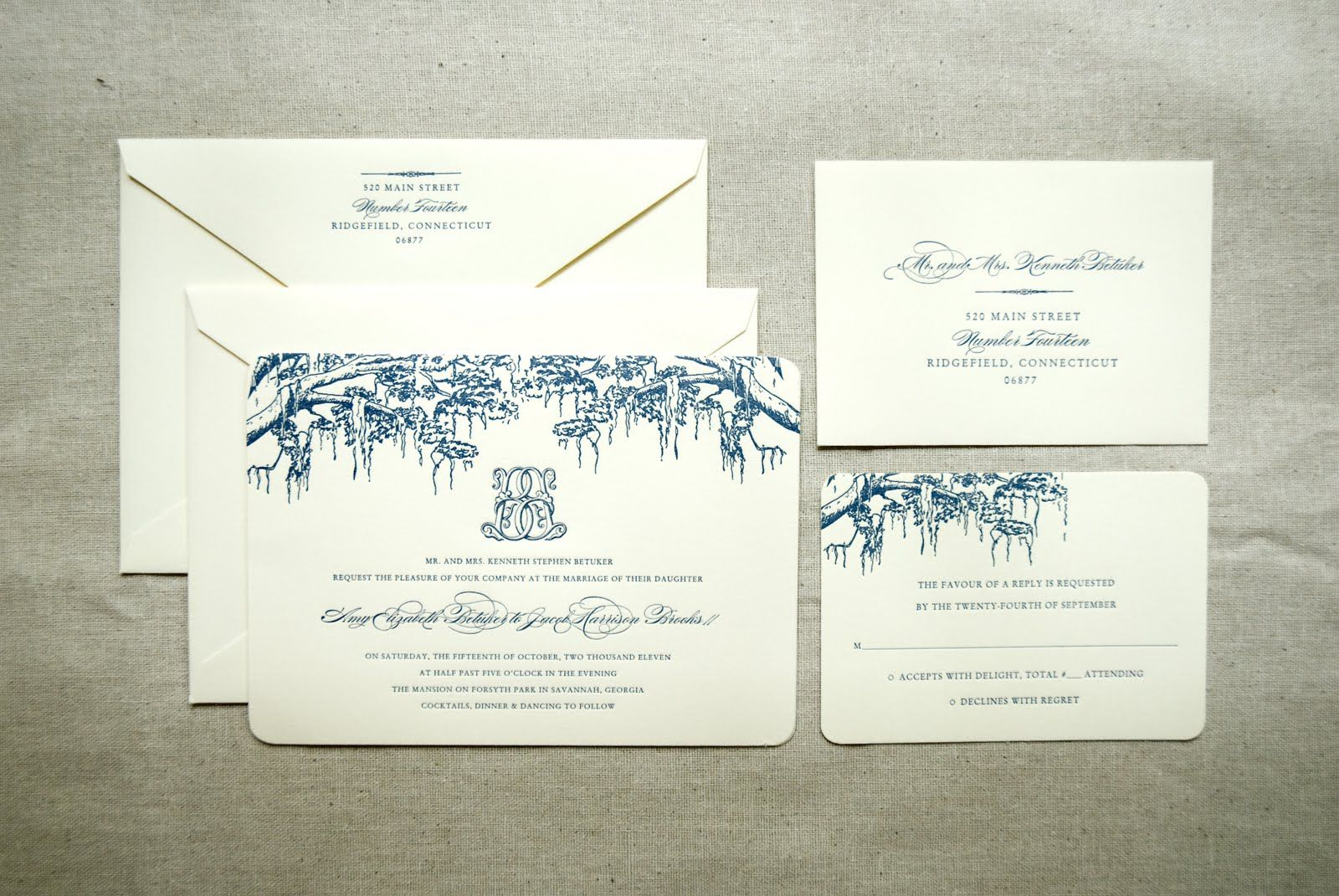 Spanish Moss Invitation with Custom Monogram @CraneandCo Lettre in ...