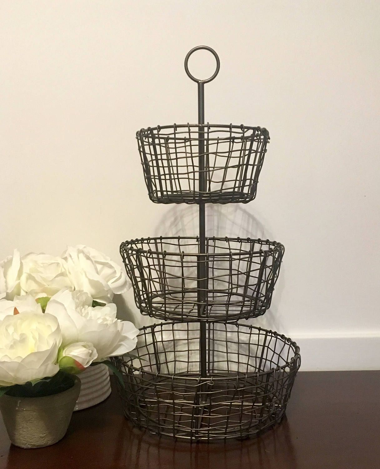 Table Top Fruit Basket Tiered Rustic Metal Wire Fruit Basket Farmhouse Cottage