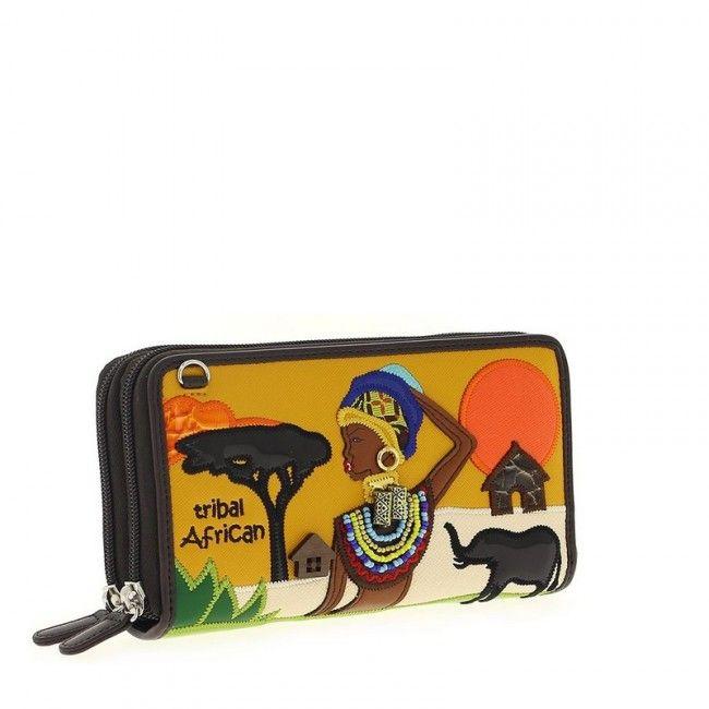 Portafoglio Braccialini Cartoline Tribal African #portafogli #wallets #braccialini #cartoline