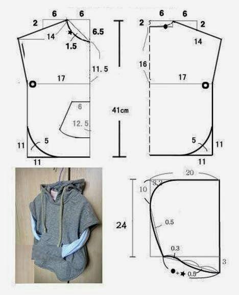 Manga curta, de casaco, camisa e alfaiataria   Molde de