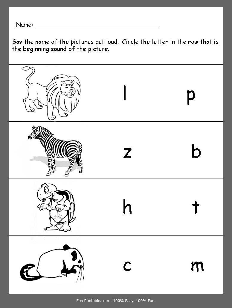 Customize Your Free Printable Zoo Animals Beginning Consonants Review Initial Letter Sounds Kindergarten Phonics Worksheets Letter Worksheets Kindergarten [ 1028 x 776 Pixel ]