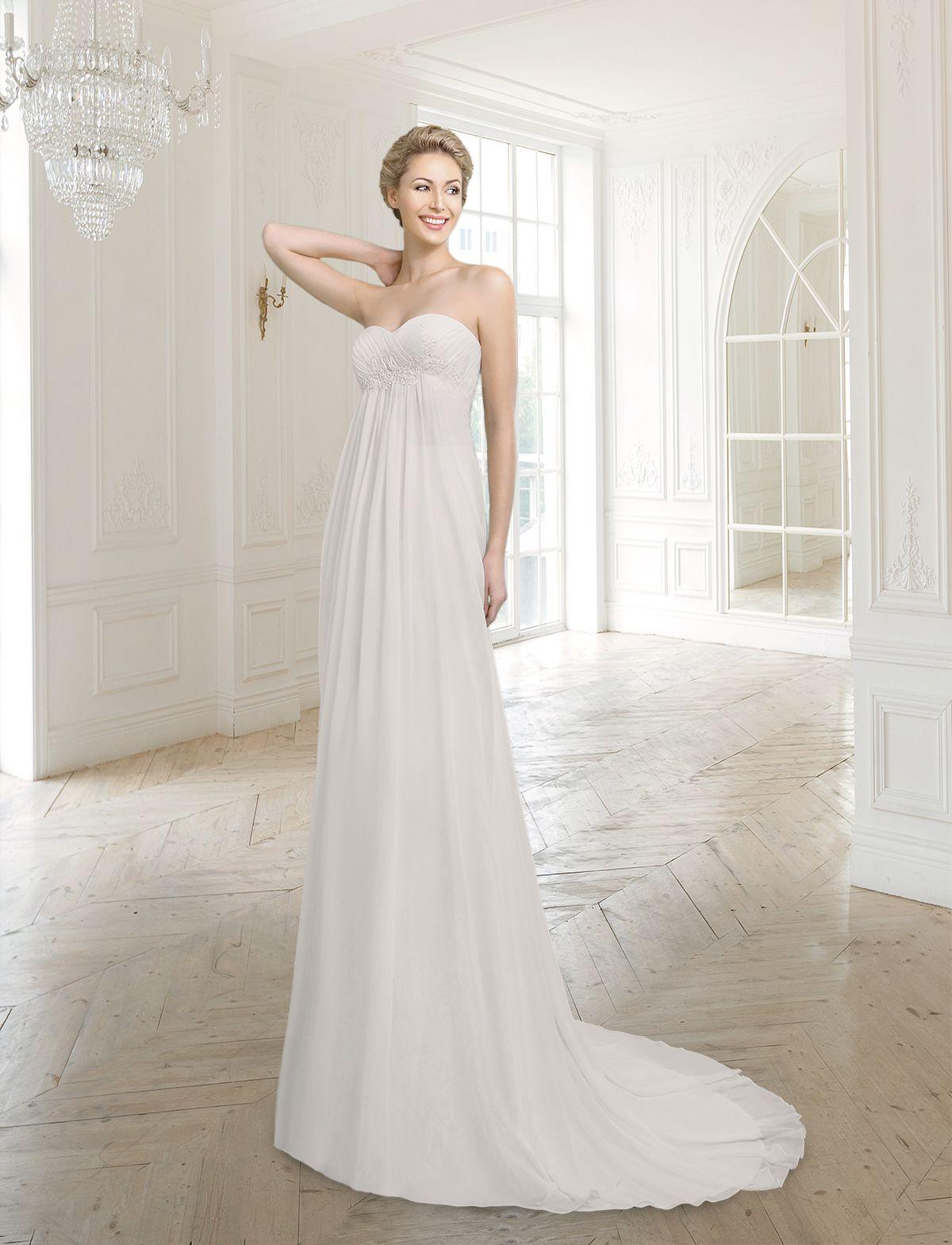Empire Brautkleid mit hoher Taille aus feinstem Chiffon. Raffung im ...