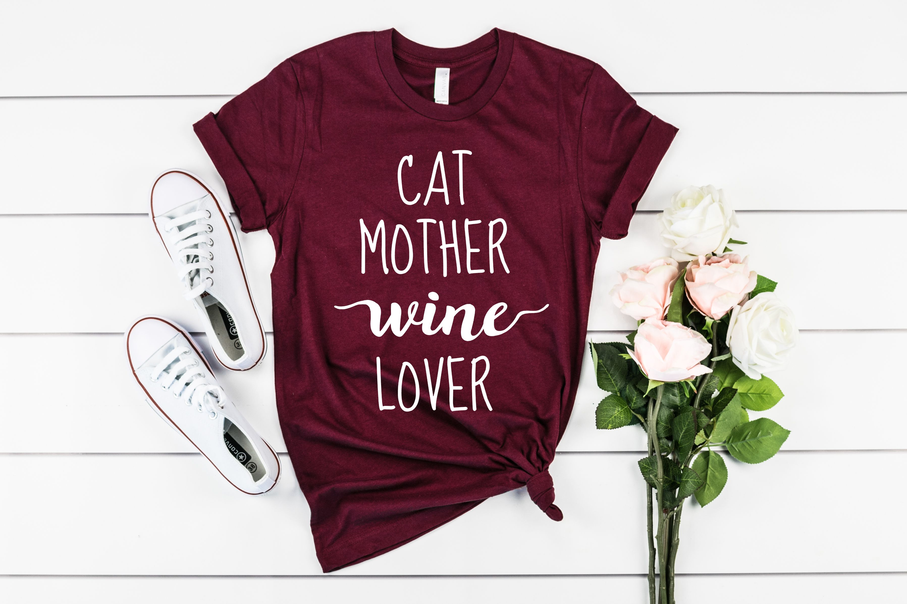Cat Mother Wine Lover Funny Cat Mom Women's Graphic T