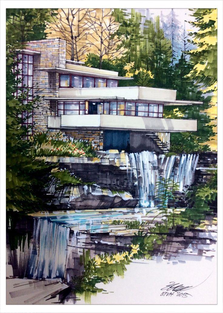 Frank lloyd wright falling water house draw by btvh