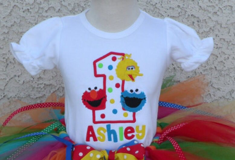 Sesame Street 1 tshirt 1 year old birthday party, Old t