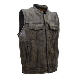 Premium soft cowhide leather men's motorcycle club vest in brown distressed cowhide leather with hidden zipper front and internal gun pockets. #bikers #leather