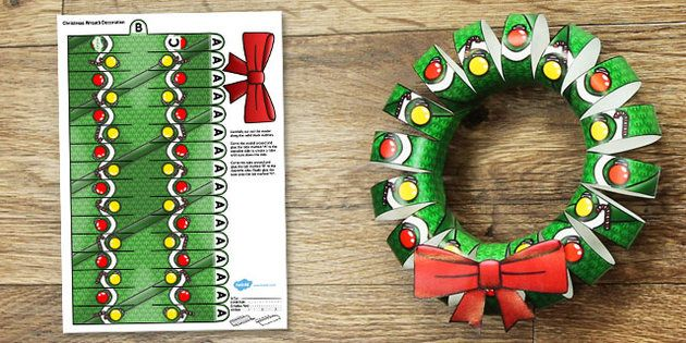 This  christmas wreath display printable is  great after schools activity or if you want to practise cutting skills with your class also rh pinterest