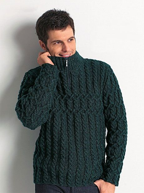 Zip Collar Sweater For Men Free Knitting Patternis Cabled