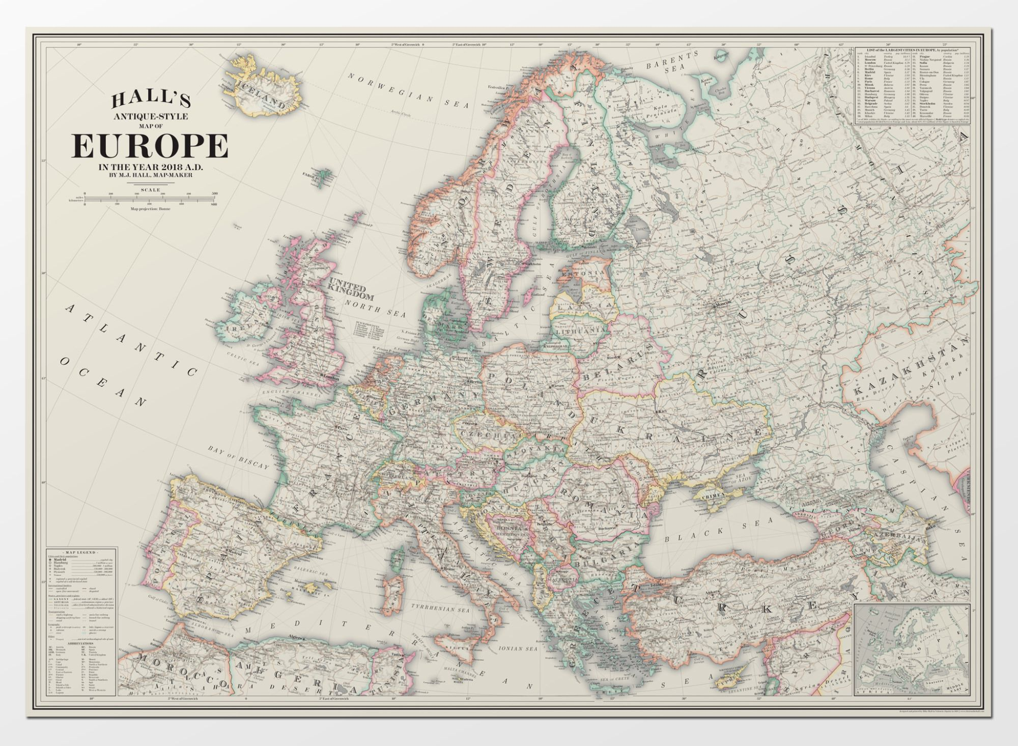 old style map of europe Antique Style Map of Europe for 2018 / by Mike Hall, map designer