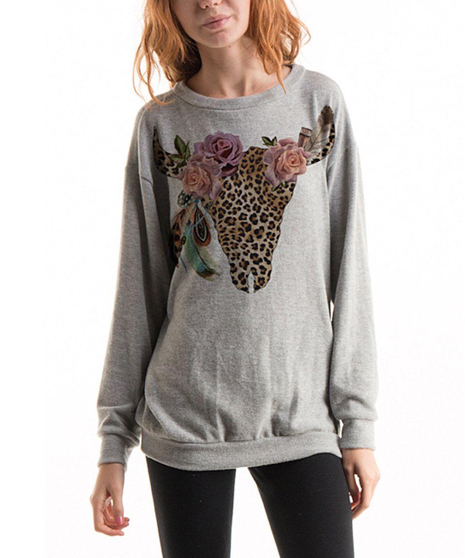 Look what I found on #zulily! Gray Bull Skull Pullover Sweatshirt by Fashionomics #zulilyfinds