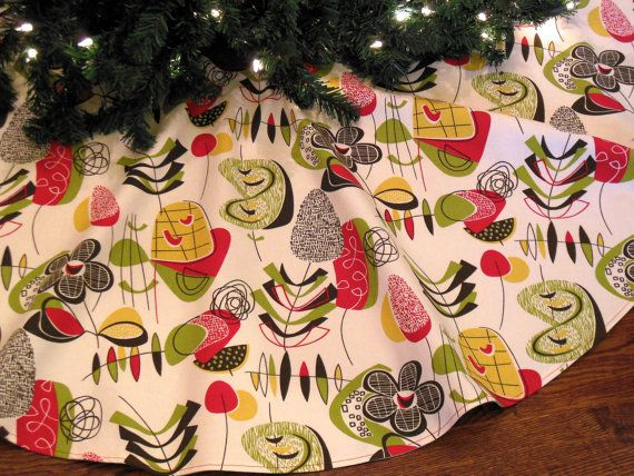 Mid Century Modern Christmas Tree Skirt.Reserved For Alex Mid Century Christmas Tree Skirt Mid