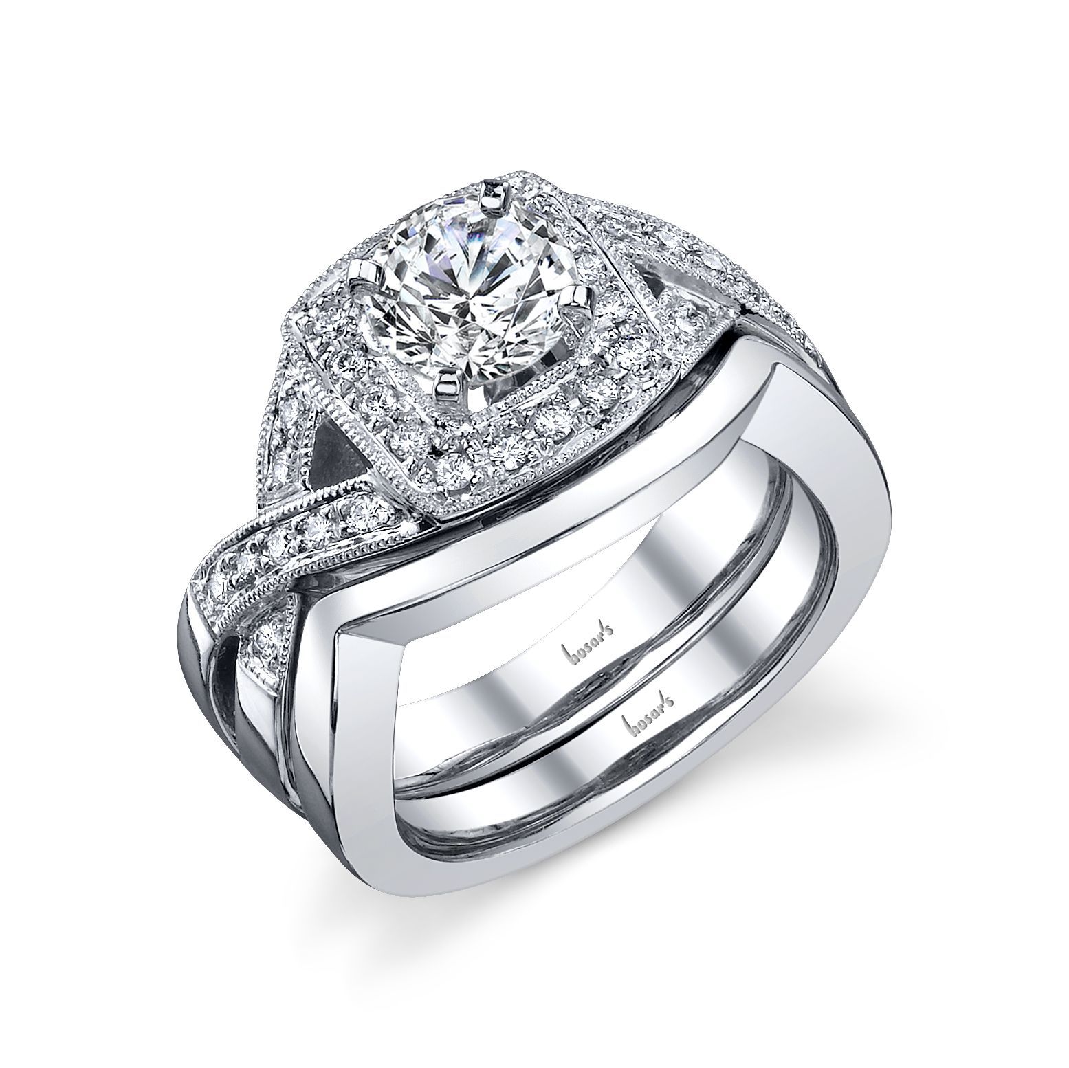 Square halo wide diamond Engagement ring with matching wedding