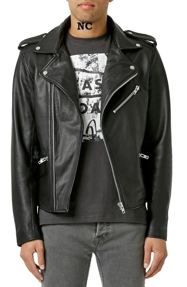 New Men S Black Genuine Lambskin Leather Slimfit Biker Motorcycle