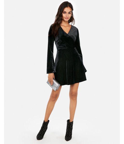 1eb7a49b7f9 Velvet Surplice Fit And Flare Dress Black Women s XL