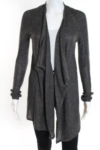 Helmut-Brown-Silk-Long-Sleeve-Loose-Fit-Ribbed-Knit-Asymmetrical-Cardigan-Small