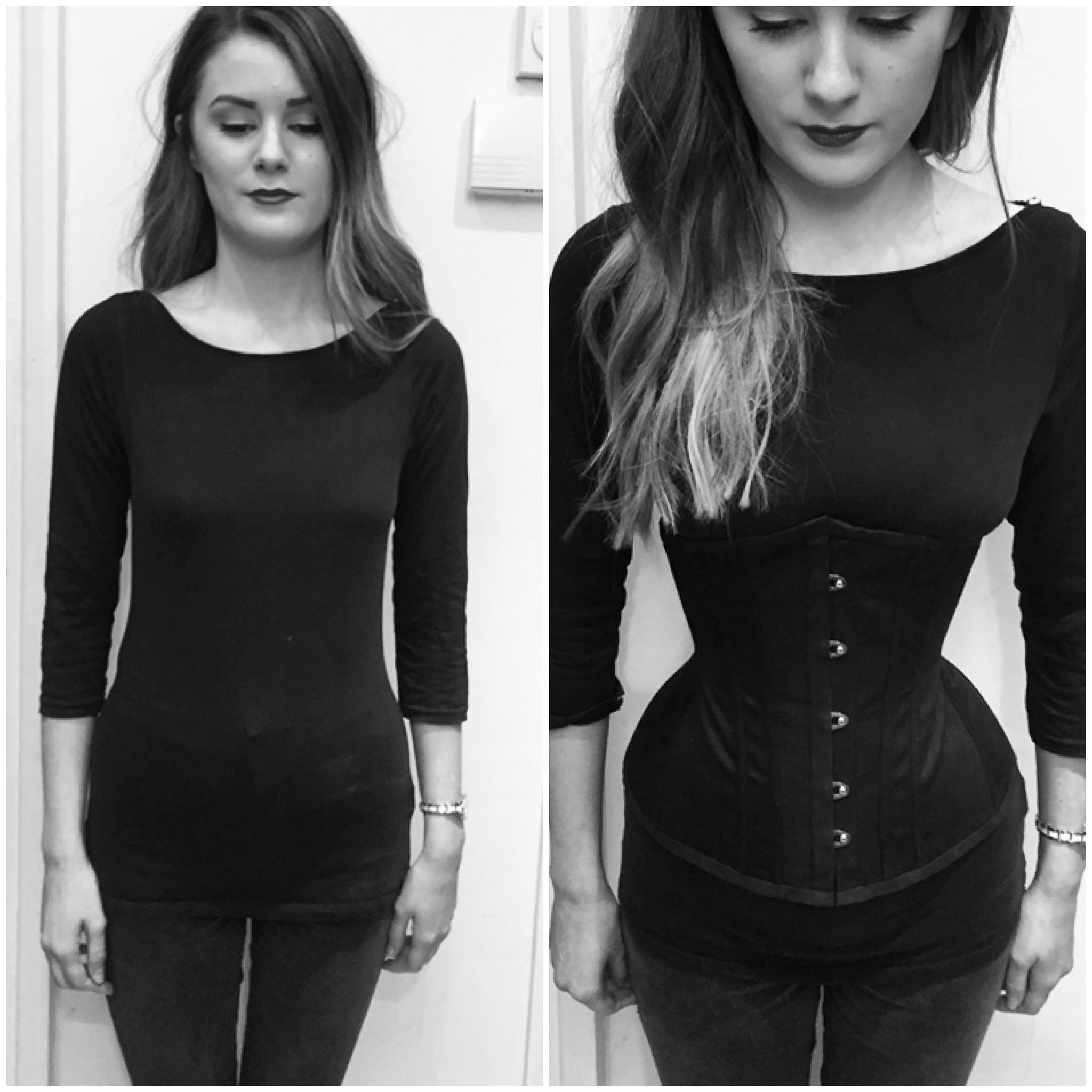 Eloise before and after shes wearing a handmade waist