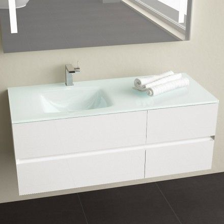 Meuble salle de bain Glass2 120 Blanc    wwwmasalledebain - Meuble De Salle De Bain Sans Vasque