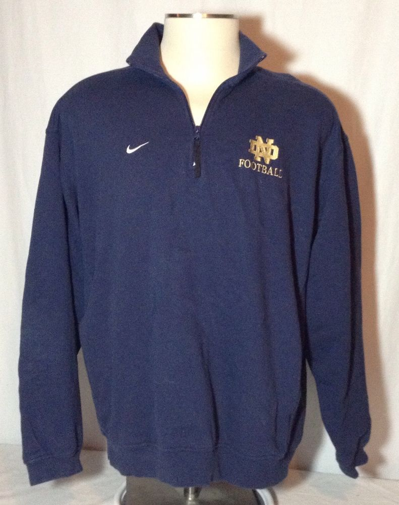 db191f9908f Nike Notre Dame Football Pullover Blue 1/4 Zip Large L #Nike #NotreDame  #Football #NCAA