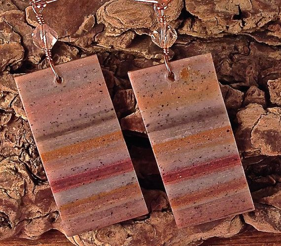 Rose Gold Palette, Translucent Polymer Clay Earrings with Copper, Gold, Bronze and Silver by SusanDolphinDelaney