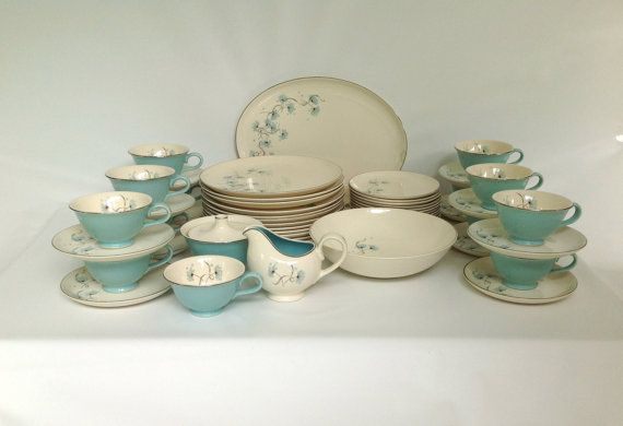 Vintage 53 Piece Blue Lace Dinnerware Set by Taylor Smith \u0026 Taylor 1950s Aqua and & Vintage 53 Piece Blue Lace Dinnerware Set by Taylor Smith \u0026 Taylor ...