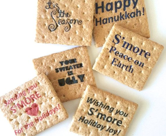 Printed graham cracker squares perfect for DIY smores bar / smores station cool company holiday party idea by CandyWithATwist
