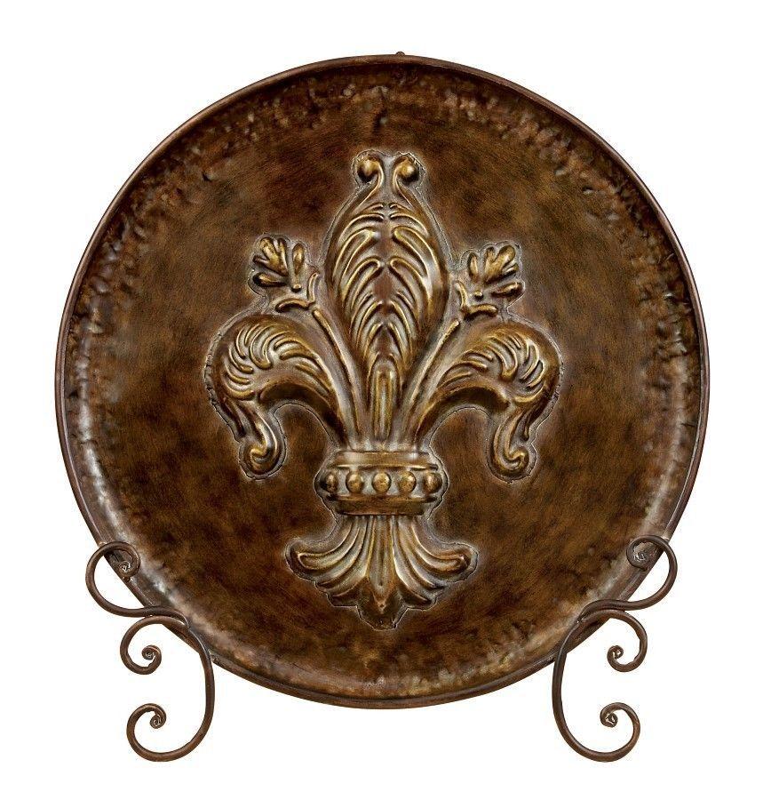 Fleur de Lis Metal Plate with Stand