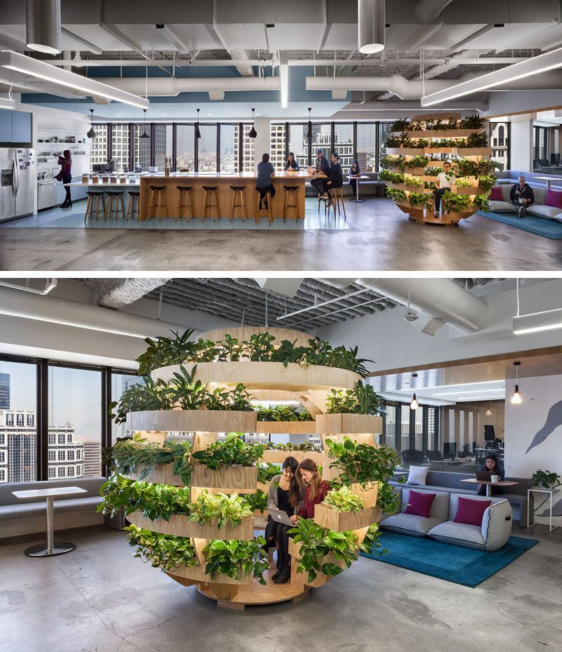 This Modern Healthcare Office Has A Growroom A Spherical Garden That Empowers People To Grow Food Growroom Plan Modern Interior Design Office Design Design