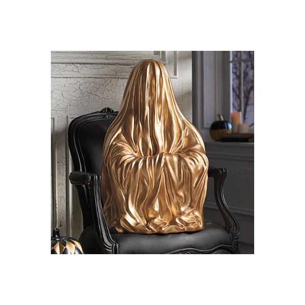 Grandin Road Gold Ghost Statue (£55) ❤ liked on Polyvore featuring - halloween statues